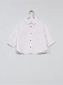 Camicie - Camicia cotone e lino + farfallino - Kiabi