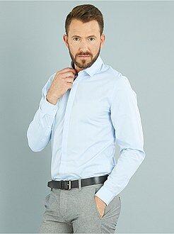 Camicie bianche - Camicia cotone motivo tessuto taglio aderente