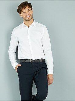 Camicie - Camicia cotone rilievo taglio dritto collo italiano