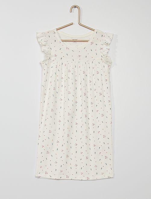 Camicia da notte stampata                                         BIANCO