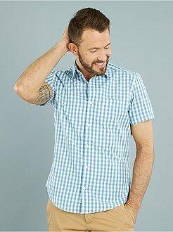 Camicie - Camicia dritta maniche corte popeline stampata
