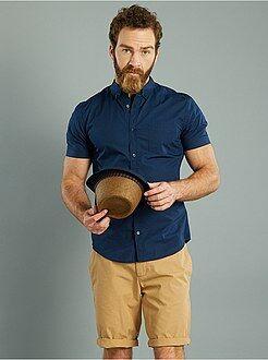Camicia dritta maniche corte popeline stampata