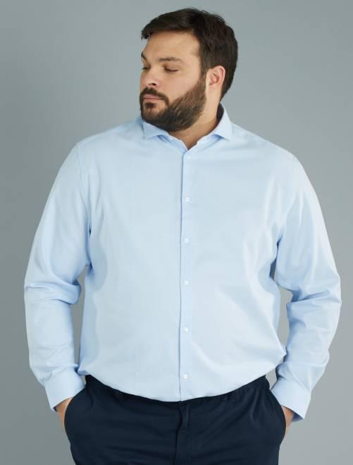 Camicia dritta piqué di cotone grigio blu Taglie forti uomo