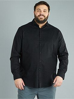 Taglie forti Uomo - Camicia dritta piqué di cotone - Kiabi
