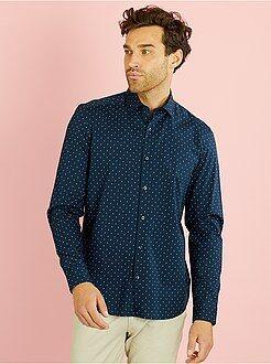 Camicia dritta popeline stampato motivi 'paisley'