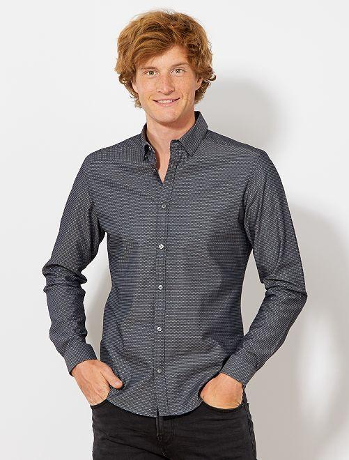Camicia fitted cotone dobby                                                                 NERO Uomo