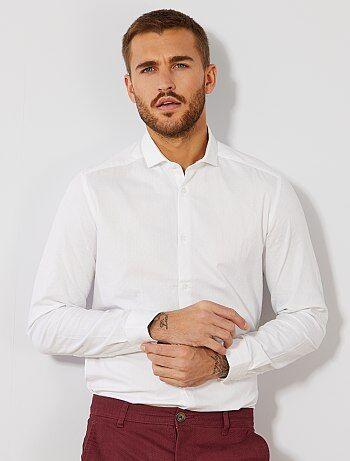 Camicia fitted cotone effetto rilievo - Kiabi