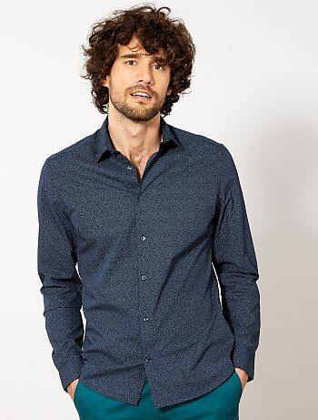 Camicia fitted popeline a pois - Kiabi