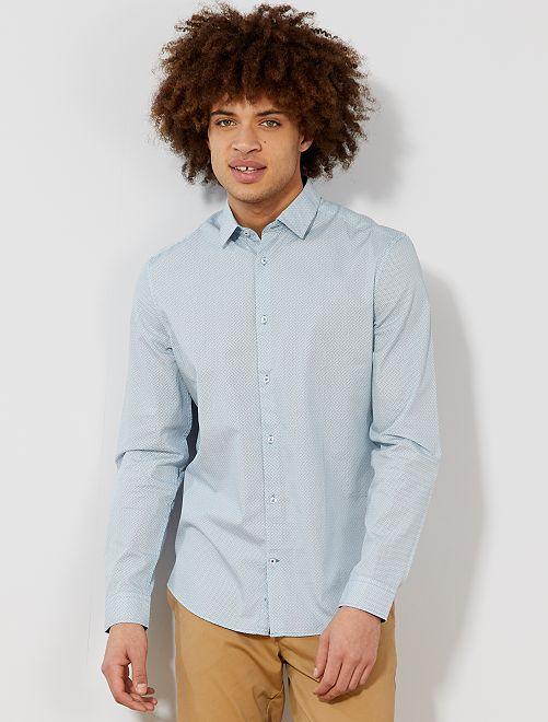 Camicia fitted popeline a righe e pois                                                                 BLU Uomo