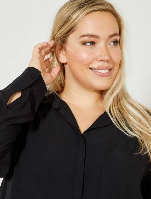 Camicia fluida stampata                                                                                         nero Taglie forti donna