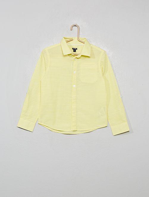 Camicia in cotone in rilievo                                                     giallo