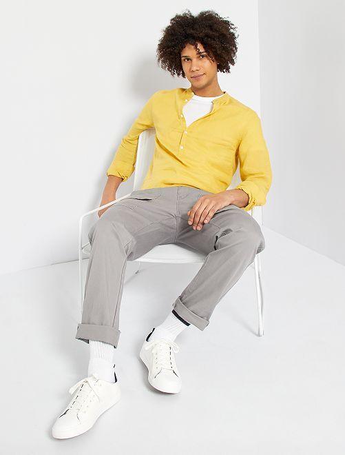 Camicia in lino eco-sostenibile                                 giallo arancio