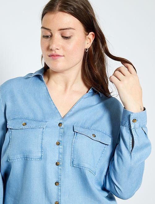 Camicia in lyocell                             BLU