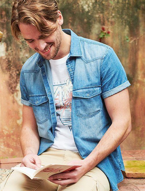Camicia jeans regular                                         stone Uomo