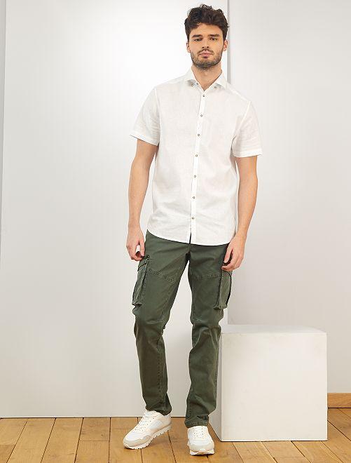 Camicia lino e cotone + 1 m 90                             bianco