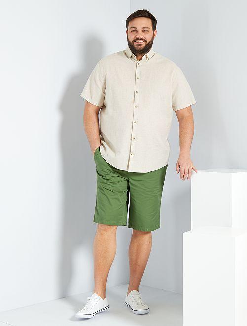 Camicia lino e cotone                                                         beige