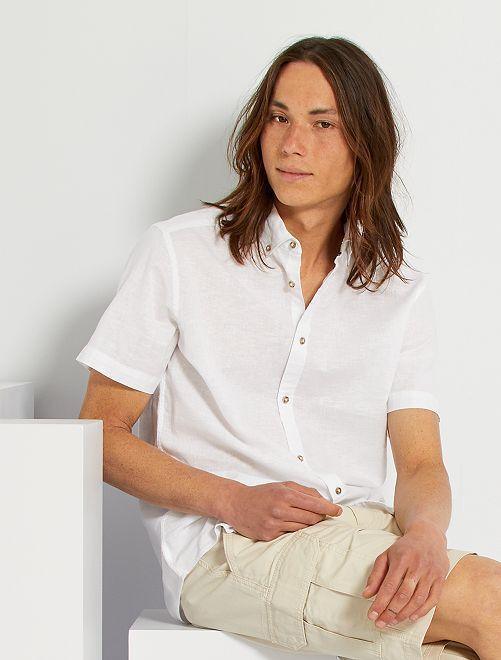 Camicia lino e cotone                                                     bianco