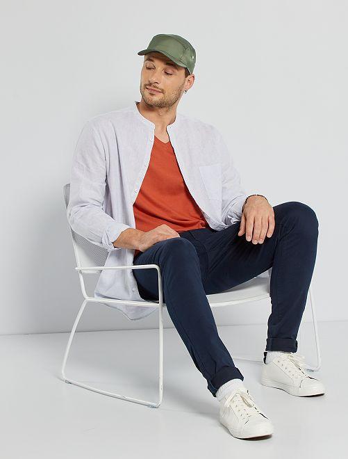 Camicia lino e cotone con collo alla coreana +190 cm                                         BLU