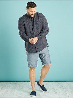 Taglie forti Uomo Camicia lino e cotone taglio dritto