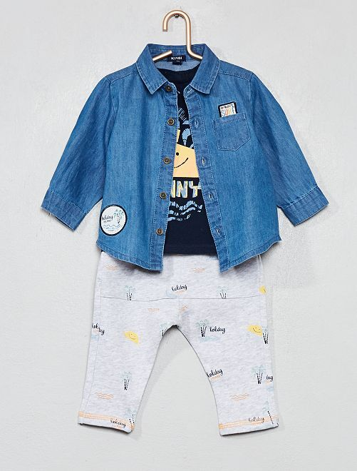 Camicia + maglia + pantaloni                             BLU Neonato