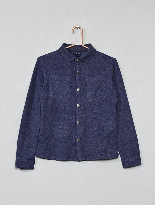 Camicia maglia piqué                                         blu scuro Infanzia bambino