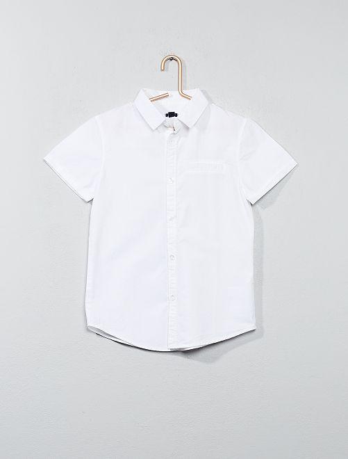 Camicia maniche corte popeline cotone                                         bianco