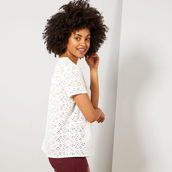 online store 1047a 56ffc Camicia maniche corte ricamo inglese Donna - bianco neve ...