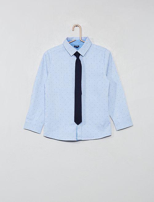 Camicia micro motivi + cravatta                     BLU Infanzia bambino