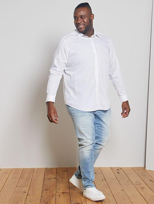 Camicia micro motivi puro cotone                             BIANCO