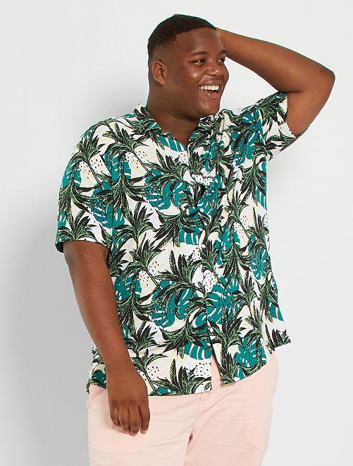 Camicia morbida con stampa tropicale                                                     BIANCO