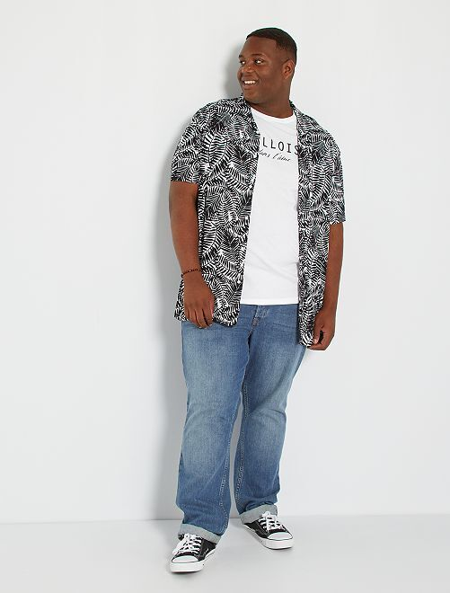 Camicia morbida con stampa tropicale                                                     NERO