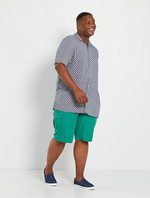 Camicia morbida stampa etnica                                                     BLU