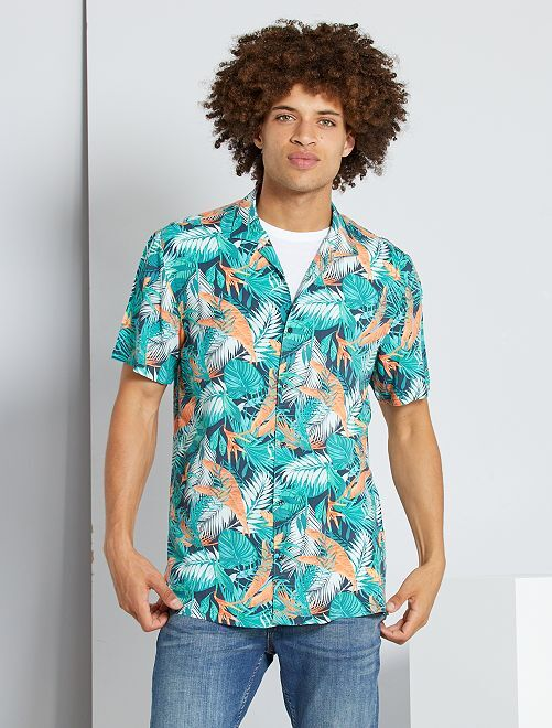 Camicia morbida stampata                                                                 BLU