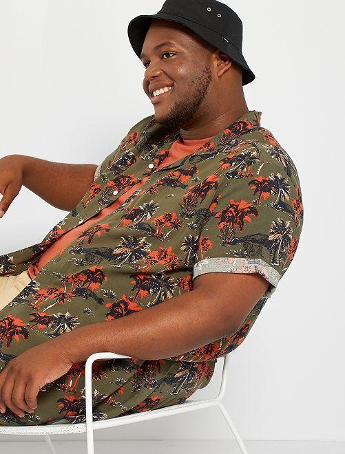 Camicia morbida stampata                                                                                         KAKI