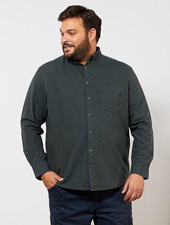b3c36691f9 Taglie forti Uomo - Camicia Oxford tasca ricamata - Kiabi