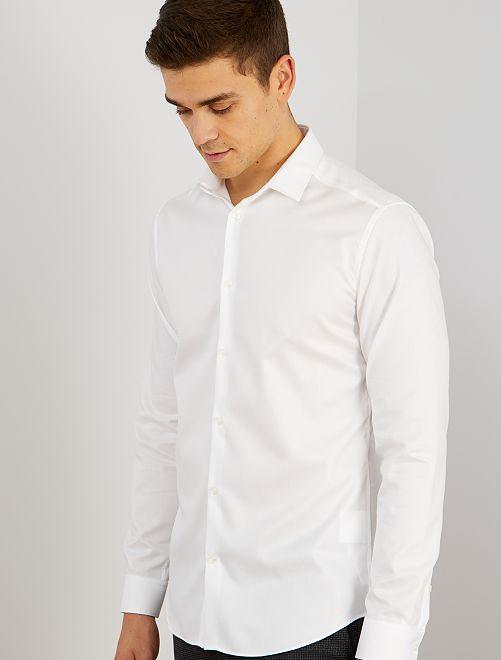 Camicia popeline a righe                             bianco