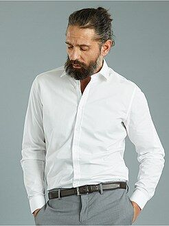 Camicie bianche - Camicia popeline micro motivi taglio aderente
