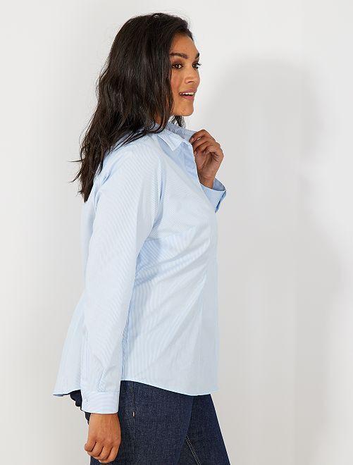 Camicia popeline stretch                                                     a righe blu Taglie forti donna