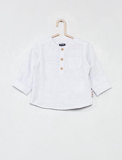 Camicia puro cotone morbidezza effetto quadrato neonato                                         GRIGIO Neonato