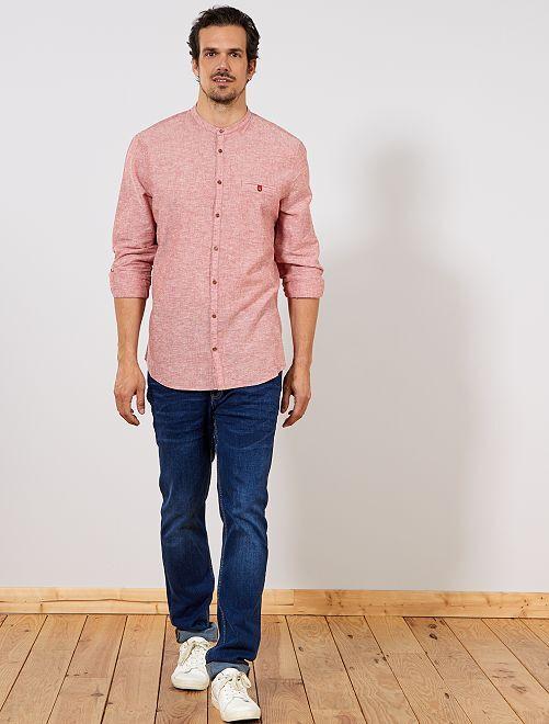 Camicia regular colletto alla coreana                                         arancione Uomini alti più di 190cm
