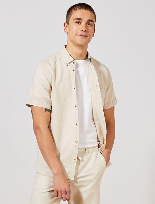 Camicia regular cotone e lino                             BEIGE Uomo