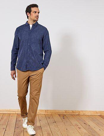 Camicia regular cotone e lino - Kiabi