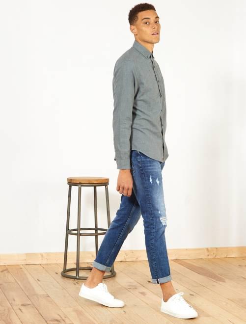 Camicia regular cotone e lino                             kaki