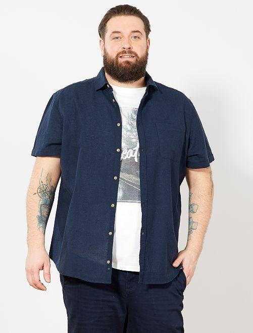 Camicia regular lino e cotone                                         BLU Taglie forti uomo