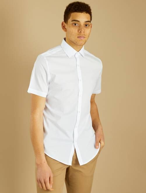 Camicia regular maniche corte                             bianco Uomo