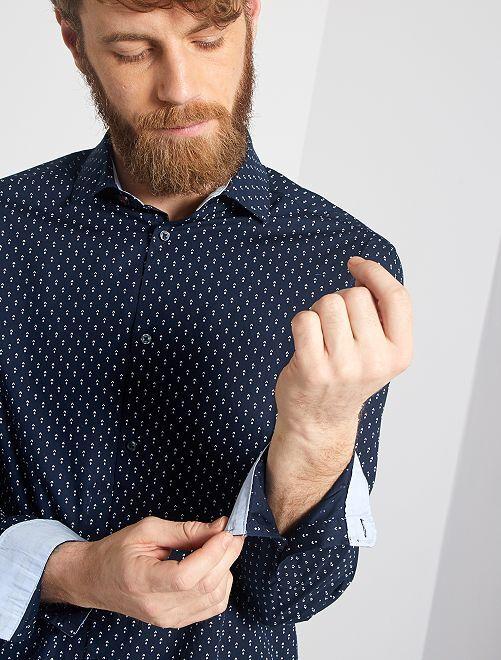 Camicia regular popeline micro motivo                                         BLU