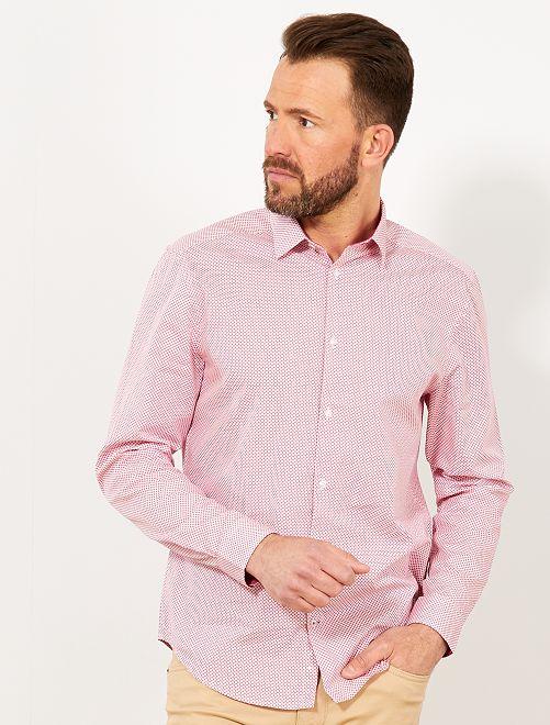 Camicia regular popeline micro motivo                                                                 ROSA Uomo