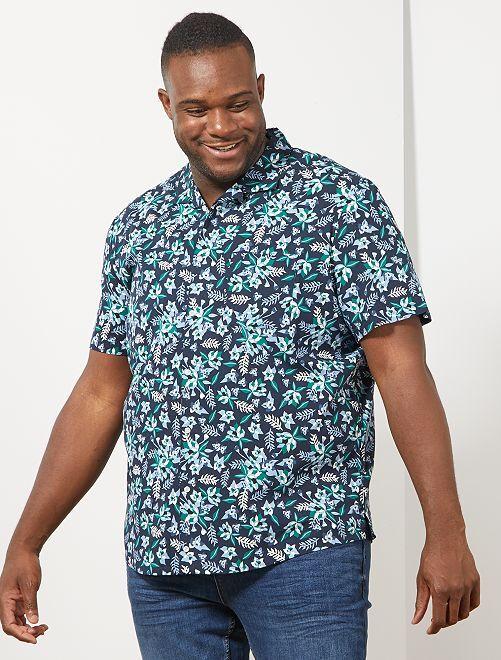 Camicia regular stampa tropicale                             BLU
