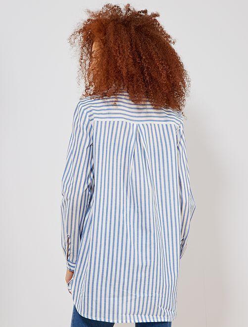 Camicia righe stile oversize Donna - BLU - Kiabi - 15 d8d4a068f70