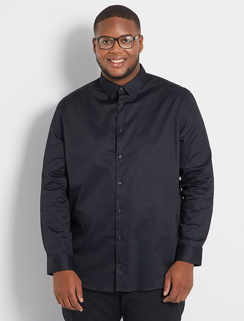 Camicia satinata eco-sostenibile                                                     nero